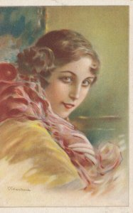 ART DECO ; Female wearing yellow blouse, red scarf, 1910-20s