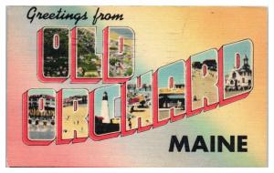 1944 Greetings from Old Orchard, Maine LARGE LETTER Postcard