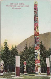 Alaska AK Postcard 1911 SKAGWAY Memorial Totem Native Eskimo Carved