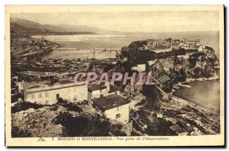 Old Postcard Monaco and Monte Carlo shooting Observatory