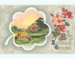 Pre-Linen COUNTRY SCENE WITH PINK POPPY FLOWERS k4784