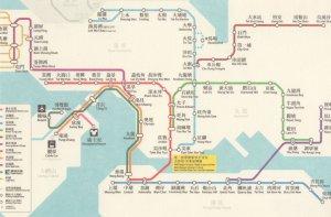 Hong Kong Train Subway Underground Map Postcard