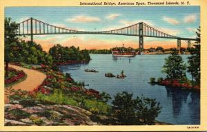 New York Thousand Islands International Bridge American Span 1946 Curteich
