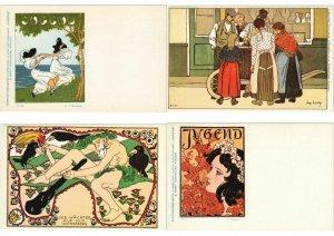 ART NOUVEAU & ART DECO ADECA NEUDIN 150 REPRINT MODERN Postcard (L3716)