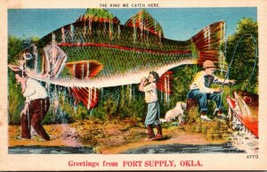 Oklahoma Greetings From Fort Supply Exageration Fishing Men Carrying Giant Fish