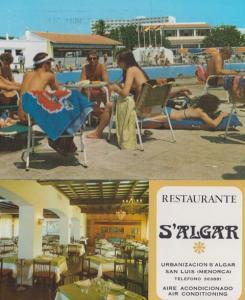 Menorca S'Algar San Luis Restaurant 2x Postcard