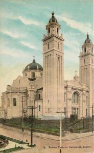 Seattle Washington~Twin Towers of Roman Catholic Cathedral~1909 Postcard