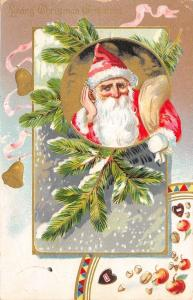 Christmas~Santa Claus Listens~Candy Nuts Apples Pour~Gold Leaf Emboss~TUCK