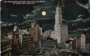 NEW YORK CITY , 1900-10s ; Woolworth Bldg & City Hall at night