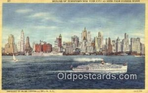 Skyline And Boat, New York City USA Steam Ship Unused light wear very close t...