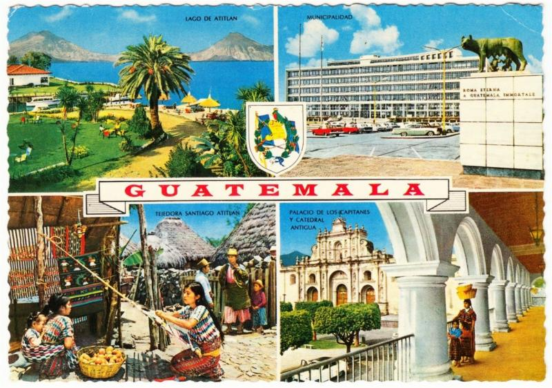 Guatemala Coat of Arms and Scenes 1960s-1970s Multi View Postcard #1