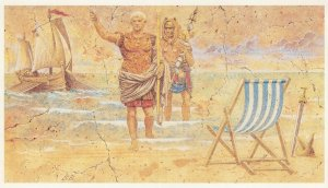 Julius Caesar Roman Landing & Pizza Arrival Comic Postcard