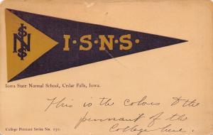 Cedar Falls IA~Iowa State Normal School~ISNS Purple Gold Pennant~1909 Postcard