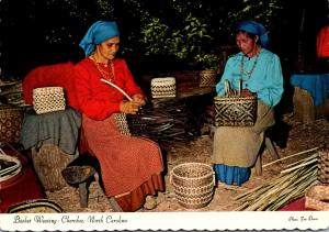 North Carolina Cherokee Betty Lossiah & Alice Walkingstick Weaving Baskets At...