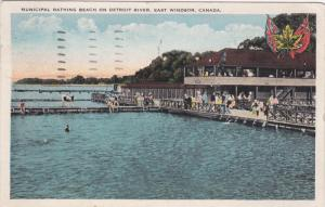 EAST WINDSOR, Ontario, Canada; Municipal Bathing Beach on Detroit River, PU-1930