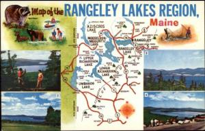 Rangeley ME Map Postcard