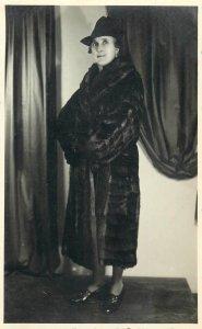 Early photo postcard Romania elegant woman fashion fur coat hat Virginia Bal