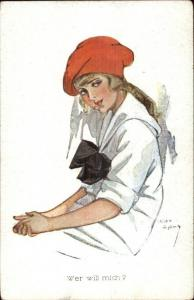 Chicky Spark - Beautiful Young Girl in Red Beret c1910 Postcard