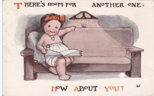 There's room for another one, How about you? Baby girl sits on couch, PU-1914