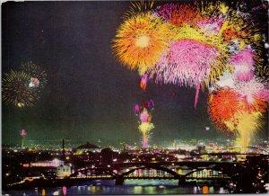 River Sumida Tokyo Japan Fireworks River Opening Feste Vintage Postcard C1