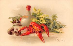 Catherine Klein~Red Lobster & Mushrooms~Jug on Table~1908 PC~Meissner & Buch