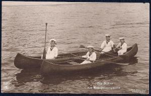 Duke of Brunswick's Children in Canoe RPPC unused c1920
