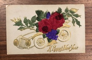 ANTIQUE - A HAPPY NEW YEAR  EMBOSSED POSTCARD - FOUNTAIN PEN - POSTED