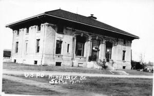 Kingfisher Oklahoma~US Post Office~Man on Steps~c1910 Sears Photo RPPC