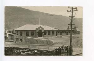 Brattleboro VT Railroad Station Train Depot 1916 RPPC Real Photo Postcard