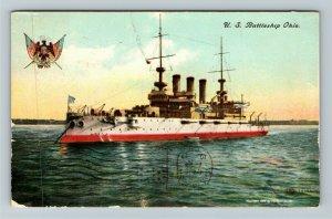United States Navy Battleship Ohio Vintage Postcard