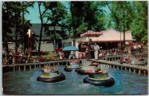 1950s RIVERVIEW AMUSEMENT PARK Chicago Postcard Water Bug Ride Scene - Unused