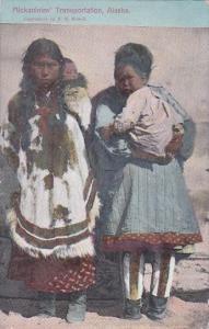 Alaska Eskimo Mothers Mickaninies' Transportation