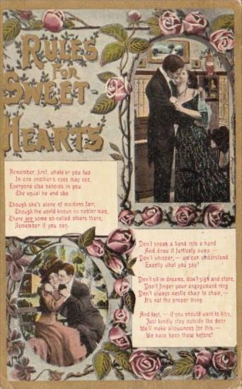Motto Card Rules For Sweethearts 1909