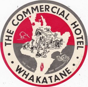 New Zealand Whakatane Commercial Hotel Vintage Luggage Label sk3786