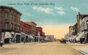 Greenville Michigan~Lafayette Street~People along Storefronts~HL Baker~1916 Pc