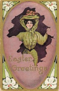 Easter Greetings young woman bonnet flower border antique pc (Z10442)