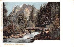 Switzerland Old Vintage Antique Post Card Lutschine u Wetterhorn Unused
