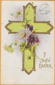 Vintage Easter-A Joyful Easter Yellow Cross & Flowers-1912