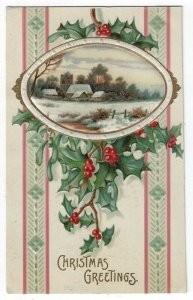 Vintage Christmas Greetings Postcard, A Country Church in Winter, 1909