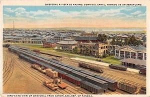 Cristobal Panama Birds Eye View Trains Antique Postcard J50230