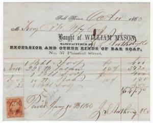 1865 Billhead, WILLIAM MASON, Mfg. of Bar Soap., Fall River, MA