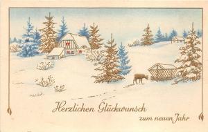 BG14629 cerf deer winter landscape new year neujahr germany