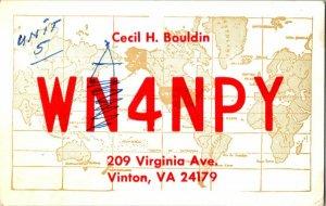 QSL Radio Card From Vinton VA Virginia WA4NPY