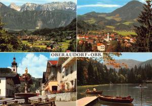 Oberaudorf am Inn Kaisergebirge Dorfplatz Lake Boats Fountain Postcard