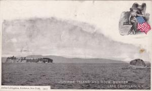 LAKE CHAMPLAIN, New York, 1896 ; Juniper Island And Rock Dunder