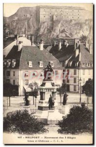 Old Postcard Belfort Monument of the 3 Seats Lion and Castle