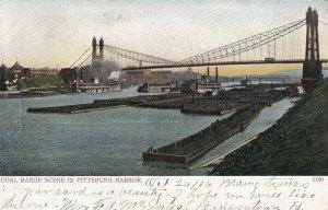 PITTSBURGH, Pennsylvania, PU-1906; Coal Barge Scene In Pittsburg Harbor