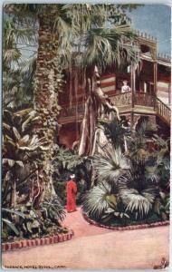 Cairo, Egypt Postcard Terrace, HOTEL DU NIL Tuck's c1910s