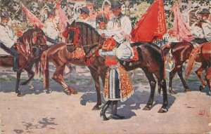 Ethnic Postcard Joza Uprka Ride of Kings painting folk costume men riding