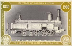 0-4-2 Locomotive For Fixed Work Victorian Paris Exposition Postcard